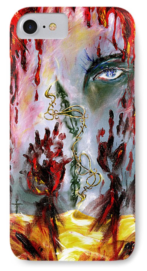 Rain IPhone 7 Case featuring the painting Rain by Hiroko Sakai