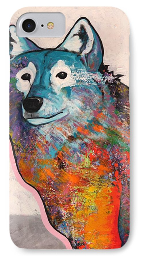 Animal IPhone 7 Case featuring the painting Rainbow Warrior - Alfa Wolf by Joe Triano