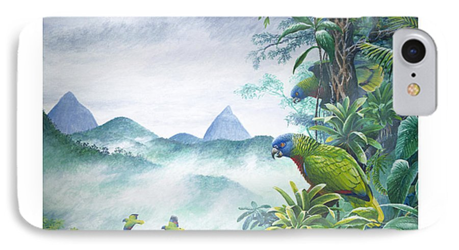 Chris Cox IPhone 7 Case featuring the painting Rainforest Realm - St. Lucia Parrots by Christopher Cox