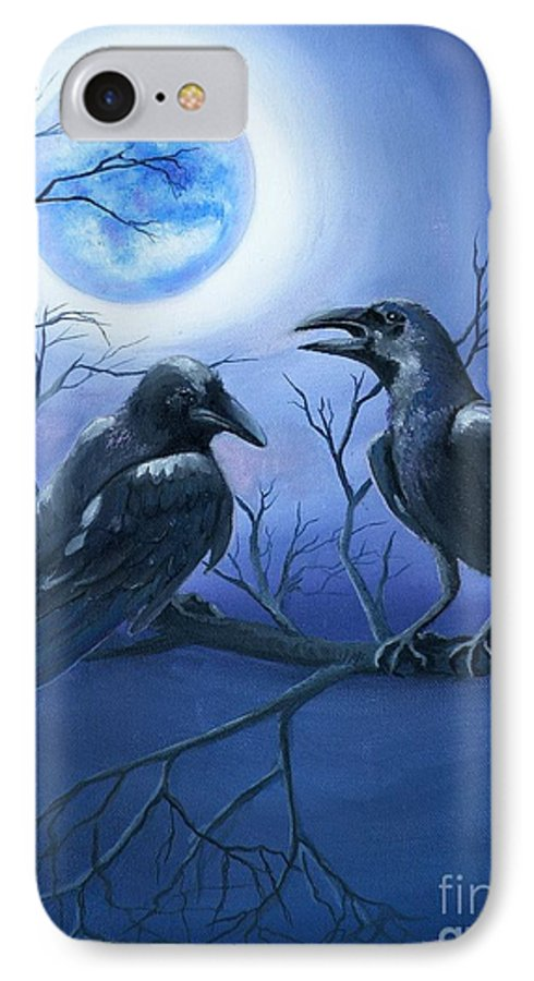 Ravens IPhone 7 Case featuring the painting Raven's Moon by Lora Duguay
