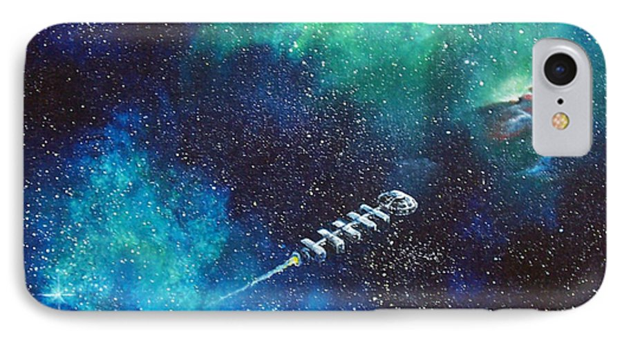 Spacescape IPhone 7 Case featuring the painting Reaching Out by Murphy Elliott