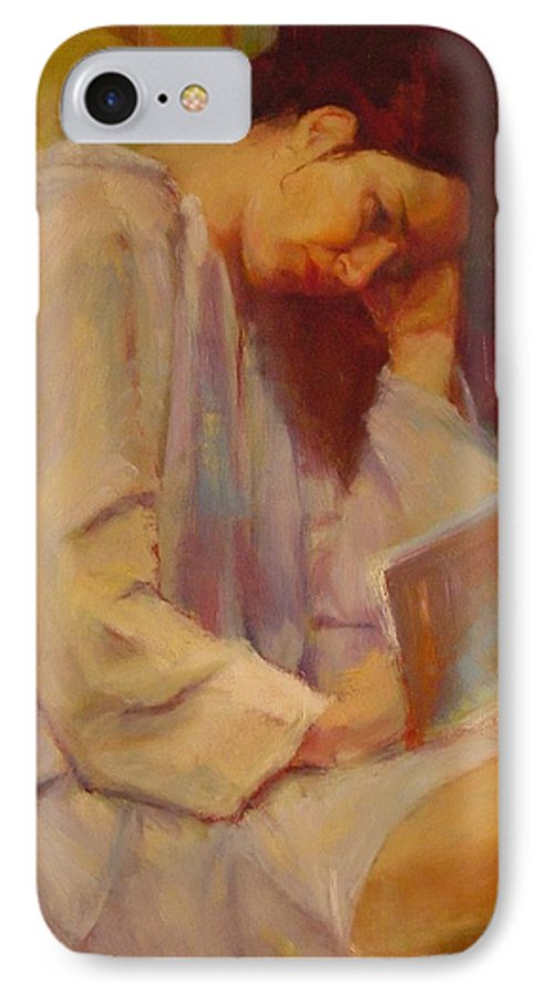 Figure IPhone 7 Case featuring the painting Reading In The Blue Robe by Irena Jablonski