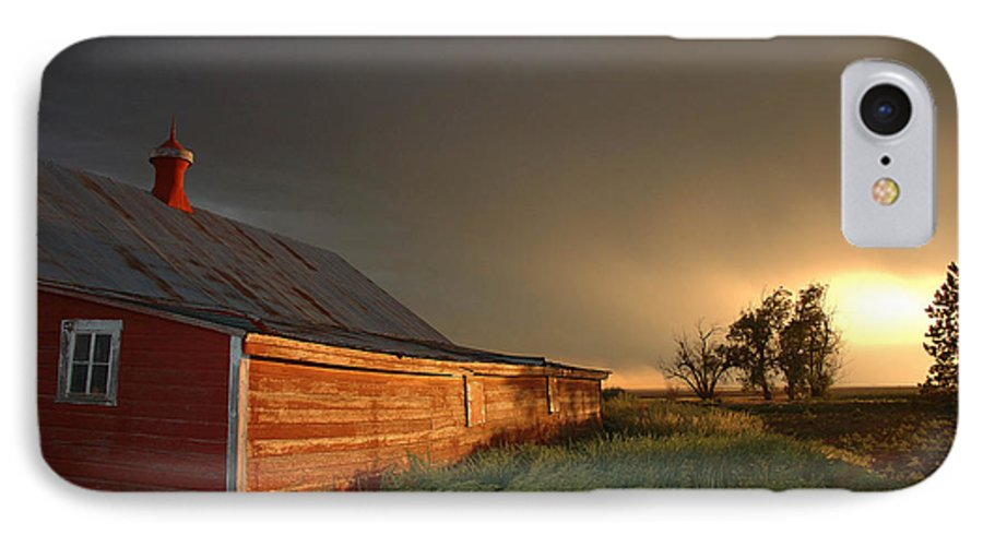 Barn IPhone 7 Case featuring the photograph Red Barn At Sundown by Jerry McElroy