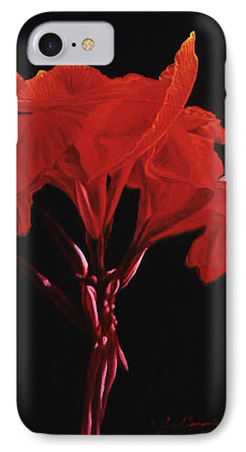 Floral IPhone 7 Case featuring the painting Red Canna by Gary Hernandez