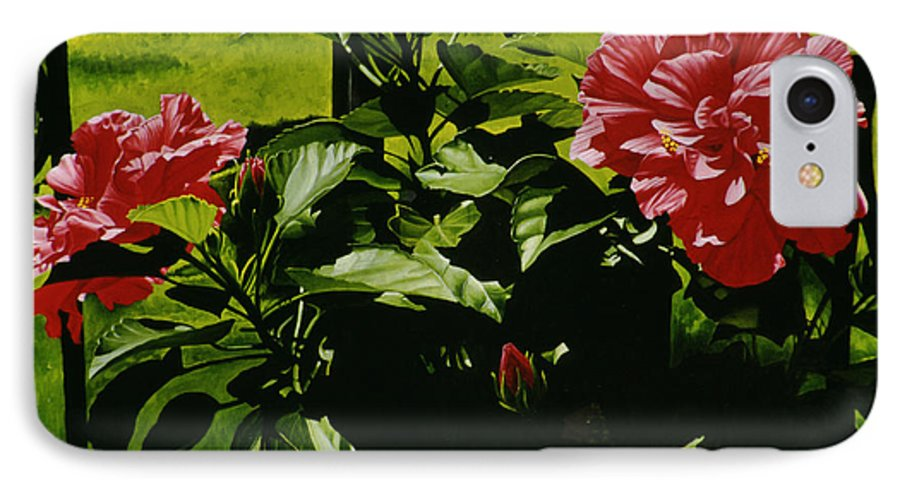 Floral IPhone 7 Case featuring the painting Red Hibiscus by Gary Hernandez
