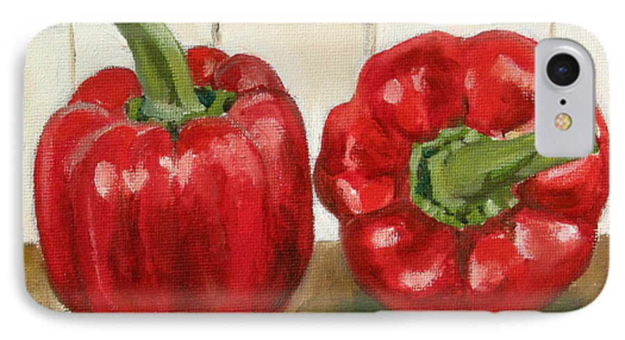 Food IPhone 7 Case featuring the painting Red Pepper by Sarah Lynch
