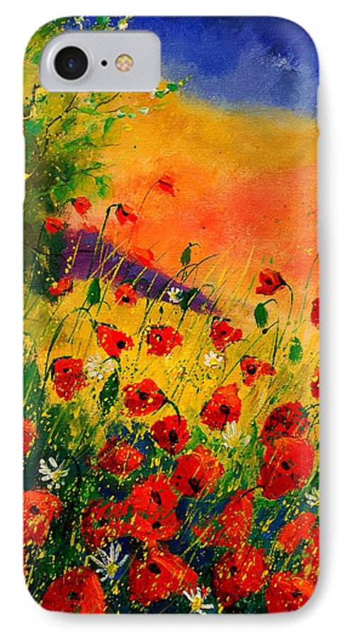Poppies IPhone 7 Case featuring the painting Red Poppies 45 by Pol Ledent
