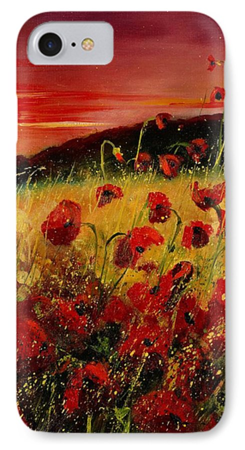 Poppies IPhone 7 Case featuring the painting Red Poppies And Sunset by Pol Ledent