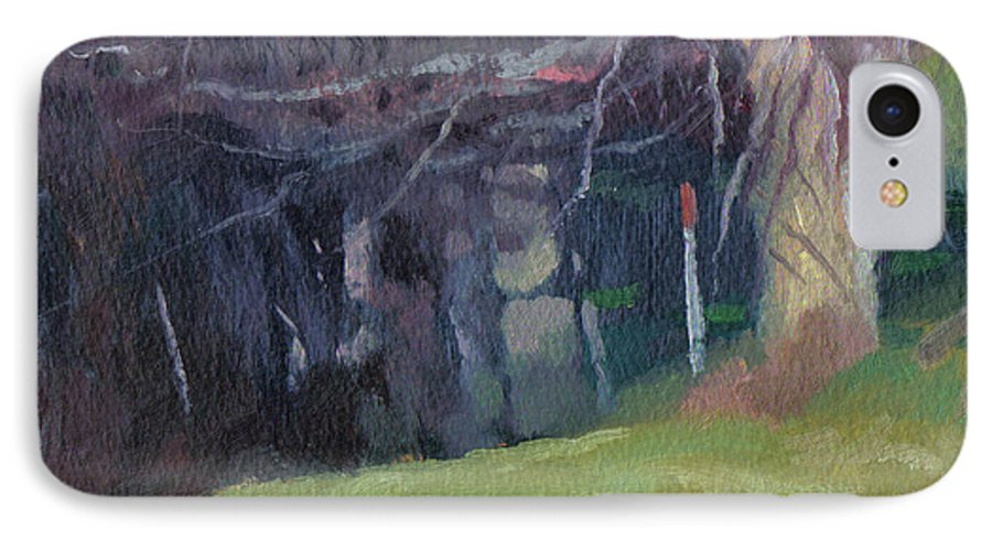 Landscape IPhone 7 Case featuring the painting Red Top Fence Post by John L Campbell