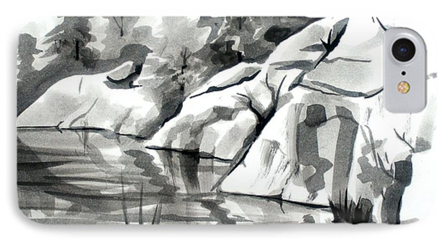 Reflections At Elephant Rocks State Park No I102 IPhone 7 Case featuring the painting Reflections At Elephant Rocks State Park No I102 by Kip DeVore