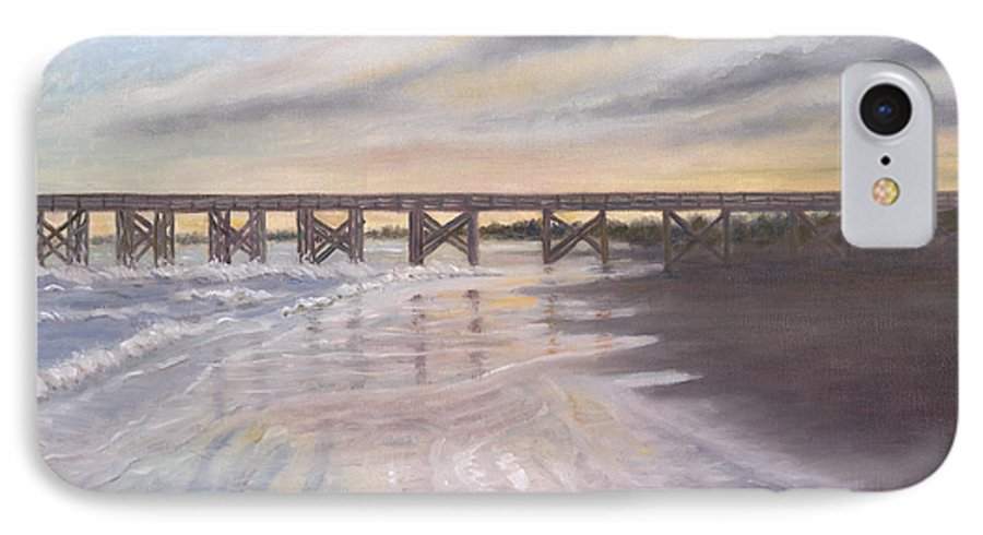 Beach; Pier; Low Country IPhone 7 Case featuring the painting Reflections by Ben Kiger