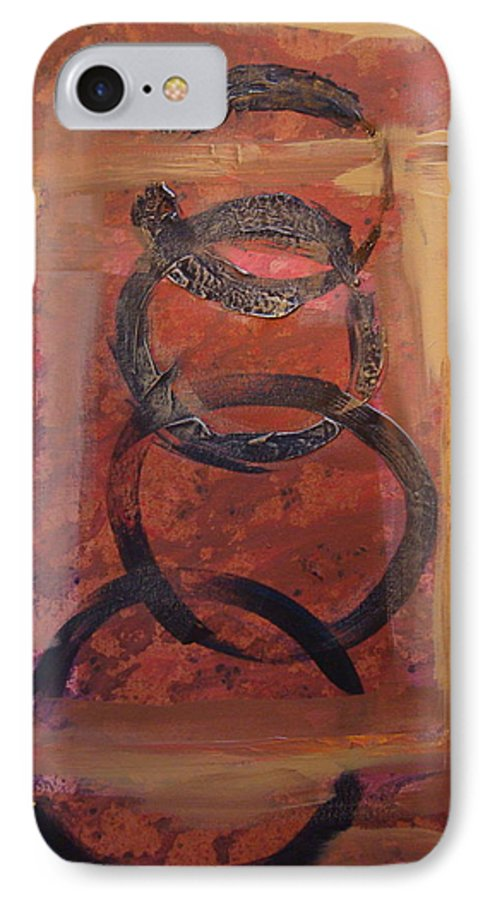 Abstract IPhone 7 Case featuring the painting Rings - Circles Of Life by Holly Picano