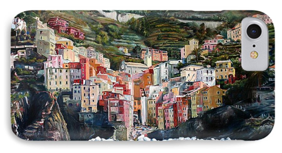 Cinque Terre IPhone 7 Case featuring the painting Riomaggiore Glory- Cinque Terre by Jennifer Lycke