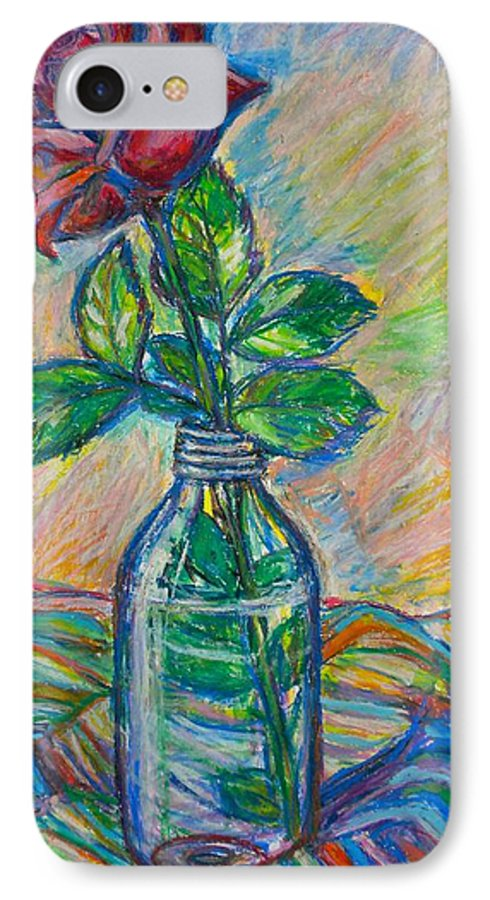 Still Life IPhone 7 Case featuring the painting Rose In A Bottle by Kendall Kessler