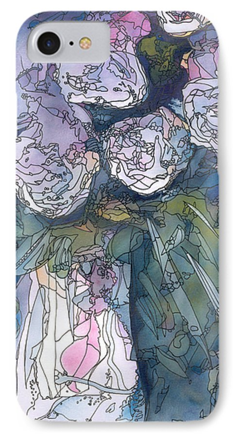 Roses IPhone 7 Case featuring the painting Roses In A Vase by Christina Rahm Galanis