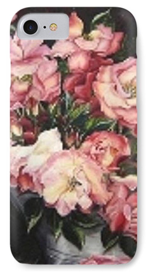 Pink Roses Floral Flowers IPhone 7 Case featuring the painting Roses In A Watercan by Karin Dawn Kelshall- Best