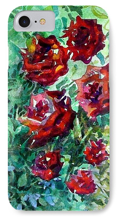 Rose IPhone 7 Case featuring the painting Roses by Mindy Newman