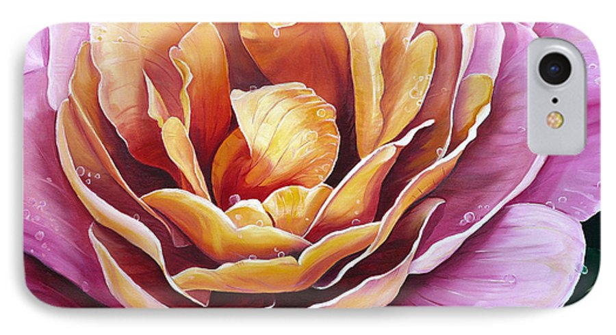 Rose Painting Pink Yellow Floral Painting Flower Bloom Botanical Painting Botanical Painting IPhone 7 Case featuring the painting Rosy Dew by Karin Dawn Kelshall- Best