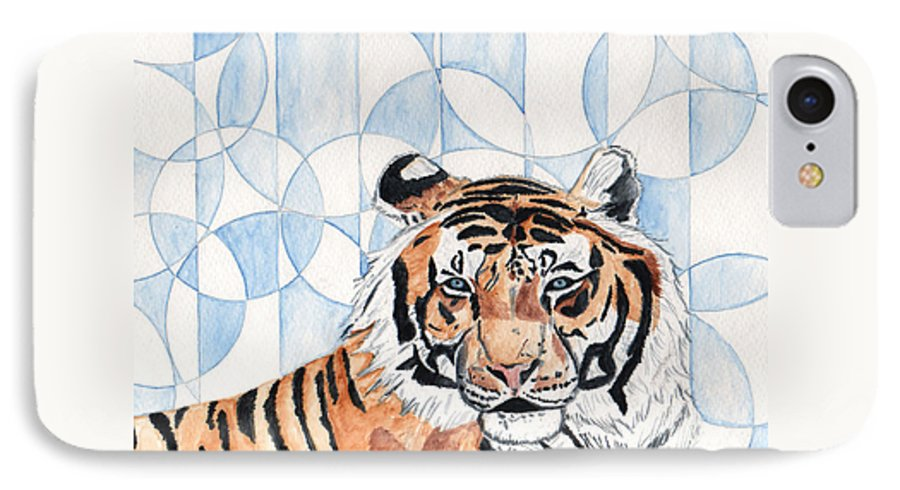 Tiger IPhone 7 Case featuring the painting Royal Mysticism by Crystal Hubbard