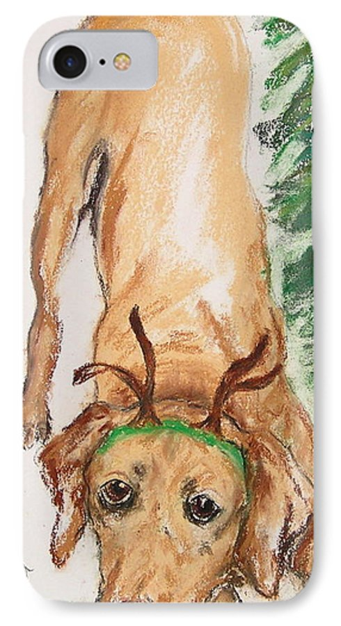 Labrador IPhone 7 Case featuring the drawing Santa's Helper by Cori Solomon
