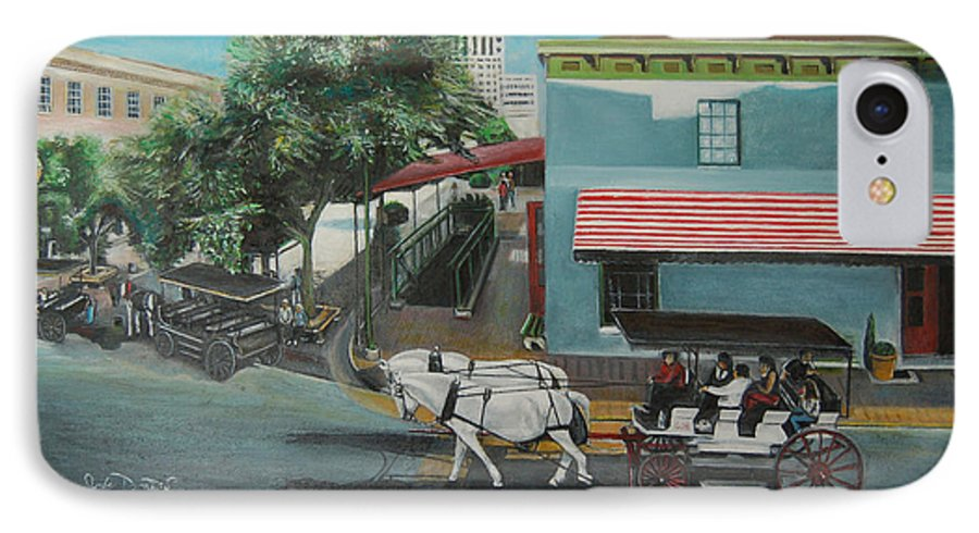 IPhone 7 Case featuring the painting Savannah City Market by Jude Darrien