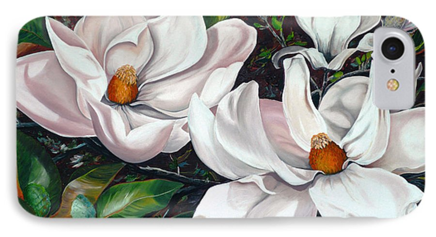 Magnolia Painting Flower Painting Botanical Painting Floral Painting Botanical Bloom Magnolia Flower White Flower Greeting Card Painting IPhone 7 Case featuring the painting Scent Of The South. by Karin Dawn Kelshall- Best