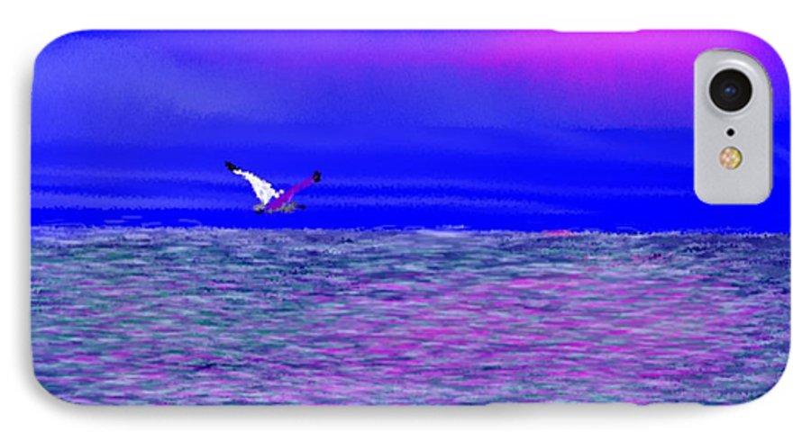 Evening.sky.clouds.sunrays.sun.sunset.sea.waves.colors.blue.pink.red.dark Blue IPhone 7 Case featuring the digital art Sea. Last Rays Of Sun by Dr Loifer Vladimir