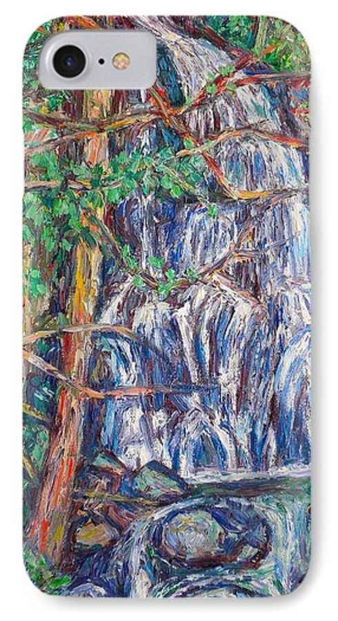 Waterfall IPhone 7 Case featuring the painting Secluded Waterfall by Kendall Kessler