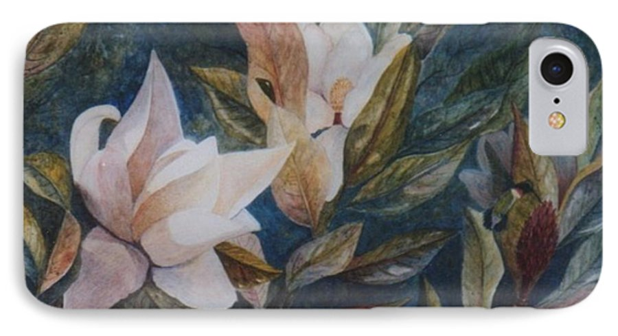 Magnolias; Humming Bird IPhone 7 Case featuring the painting Serenity by Ben Kiger