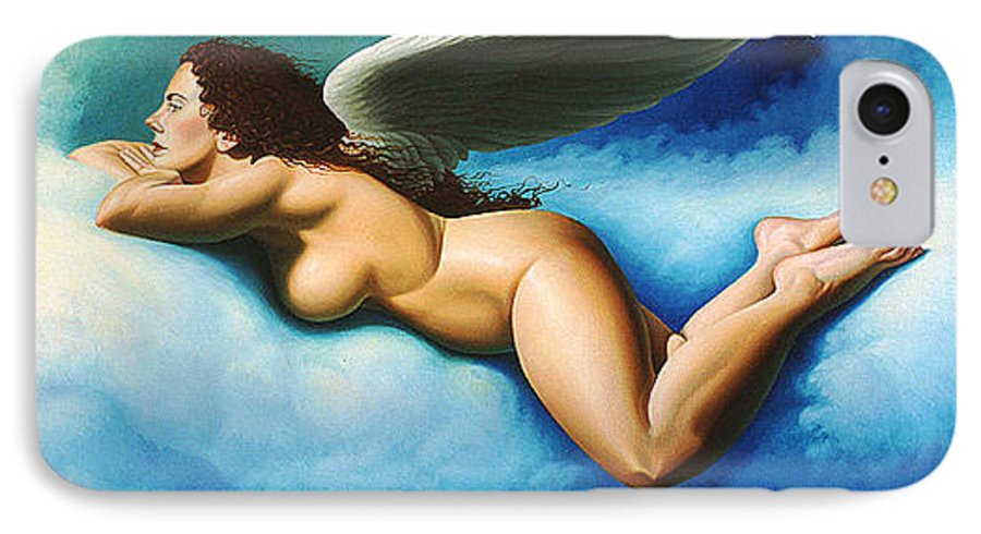 Winged Angel Floating On Blue White Clouds IPhone 7 Case featuring the painting Serenity by Gary Hernandez