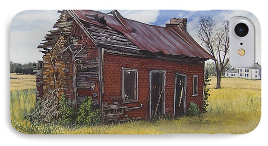 Landscape IPhone 7 Case featuring the painting Sharecroppers Shack by Peter Muzyka