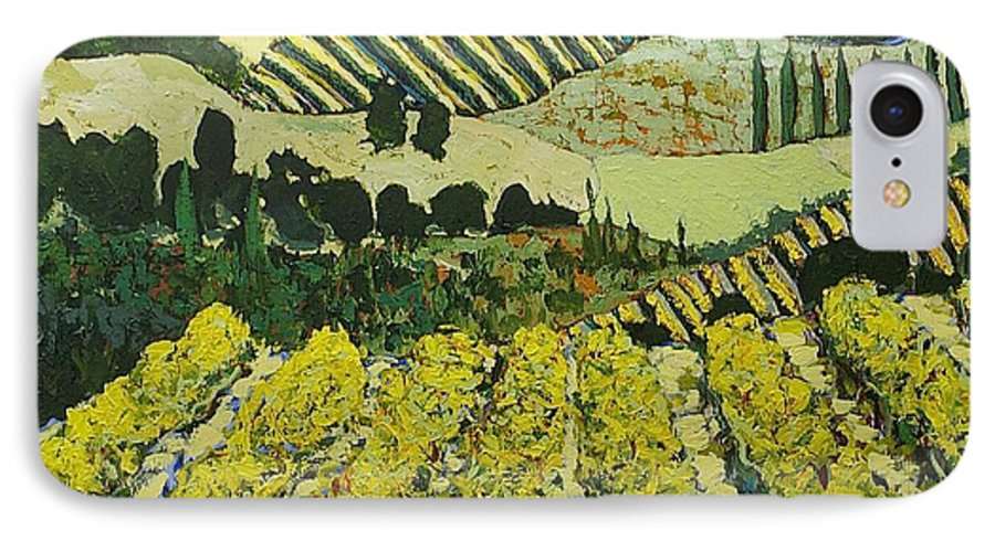 Landscape IPhone 7 Case featuring the painting Sharing The Discovery by Allan P Friedlander