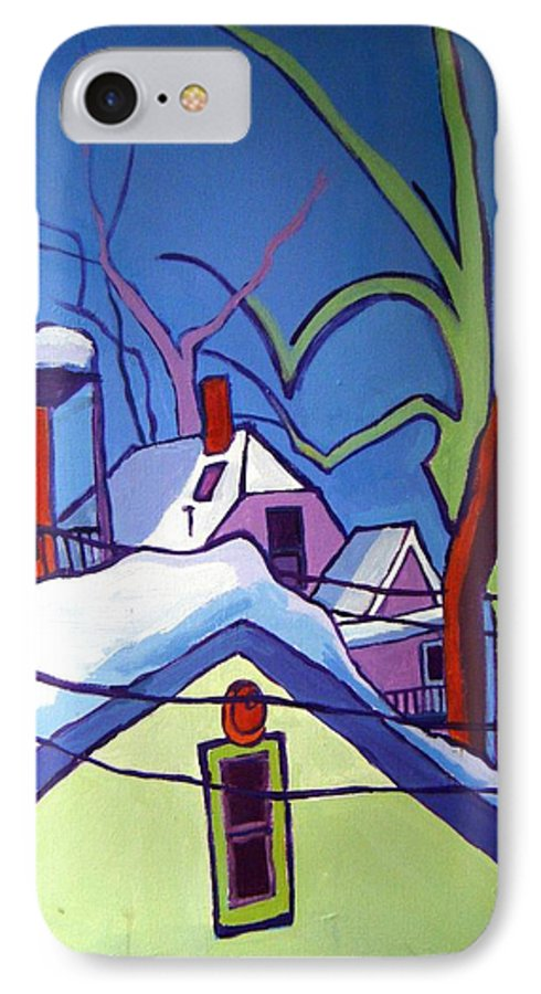 Buildings IPhone 7 Case featuring the painting Sheffield Winter by Debra Bretton Robinson