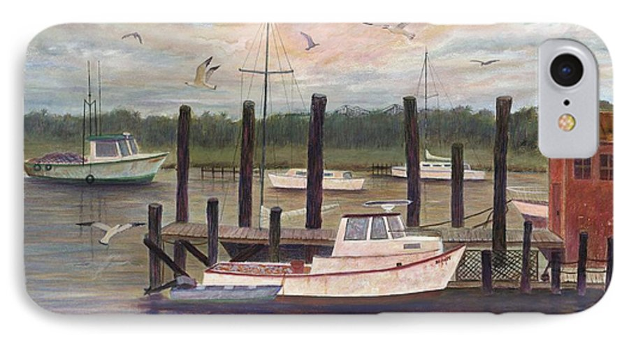 Charleston; Boats; Fishing Dock; Water IPhone 7 Case featuring the painting Shem Creek by Ben Kiger