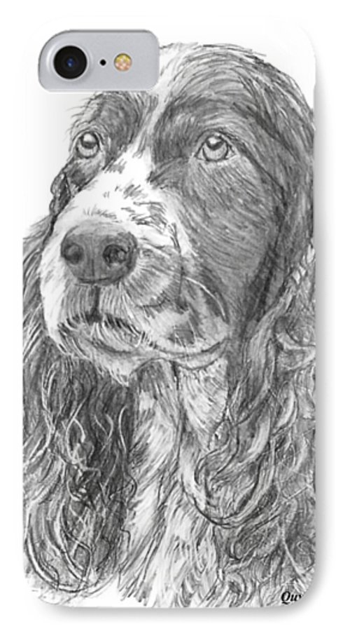 Dog IPhone 7 Case featuring the drawing Sibley by Quwatha Valentine