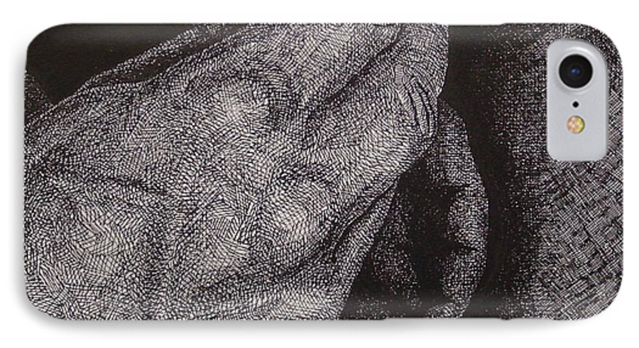 Figurative IPhone 7 Case featuring the drawing Smoke Number 2 by Denis Gloudeman