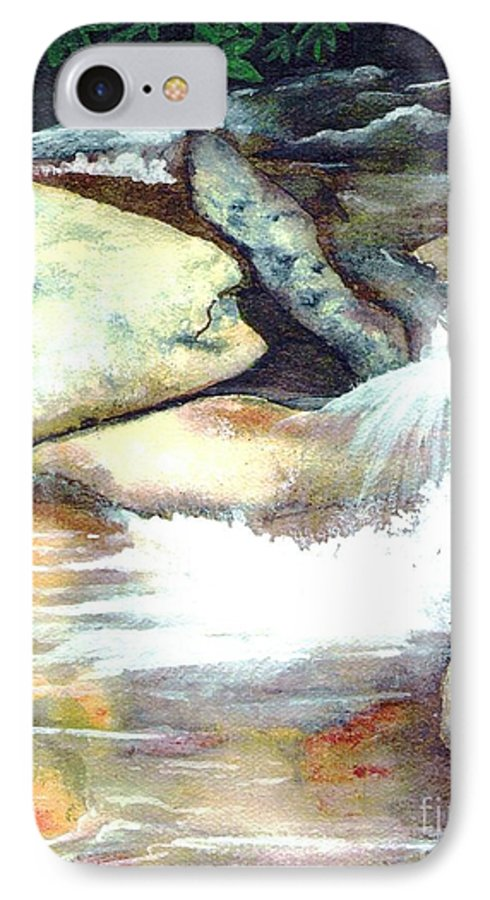 Fine Art IPhone 7 Case featuring the painting Smoky Mountains Waterfall by Patricia Griffin Brett