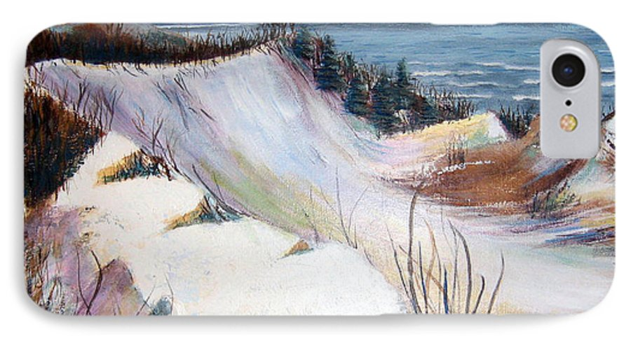 Snow IPhone 7 Case featuring the painting Snow On The Dunes by Art Nomad Sandra Hansen
