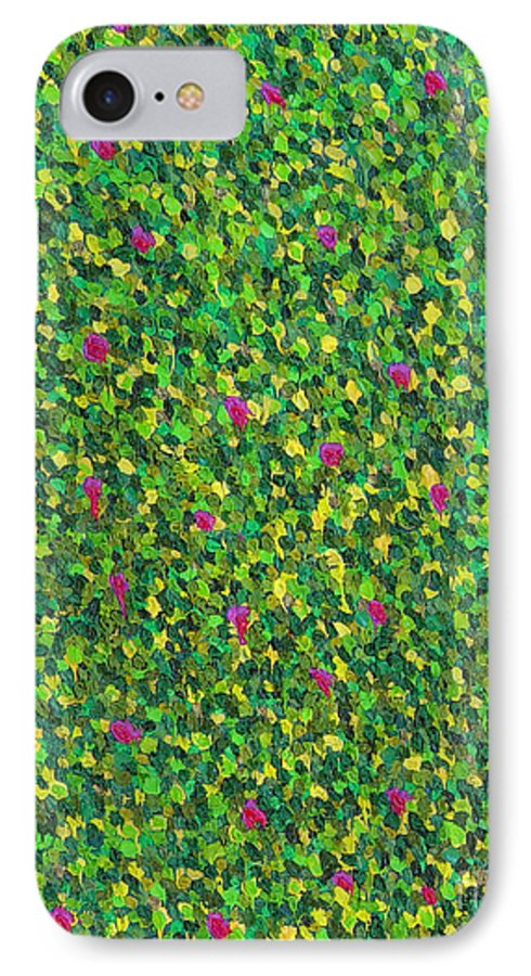 Abstract IPhone 7 Case featuring the painting Soft Green With Pink by Dean Triolo