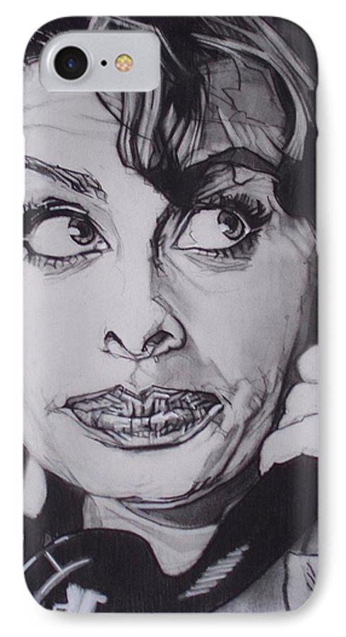 Charcoal;icon;actress;diva;italian;cat Eyes;beautiful;cute;adorable IPhone 7 Case featuring the drawing Sophia Loren Telephones by Sean Connolly