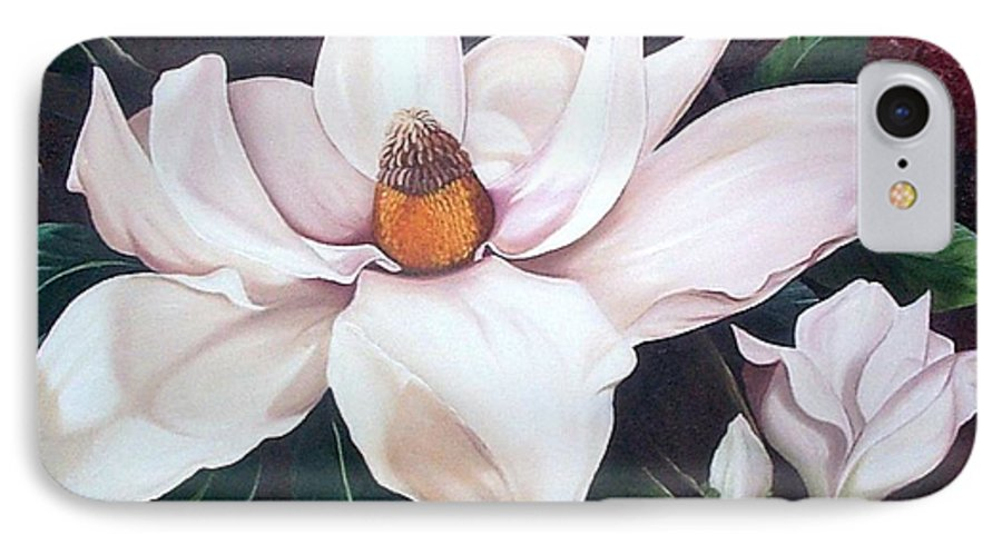 Magnolia Southern Bloom Floral Botanical White IPhone 7 Case featuring the painting Southern Beauty by Karin Dawn Kelshall- Best