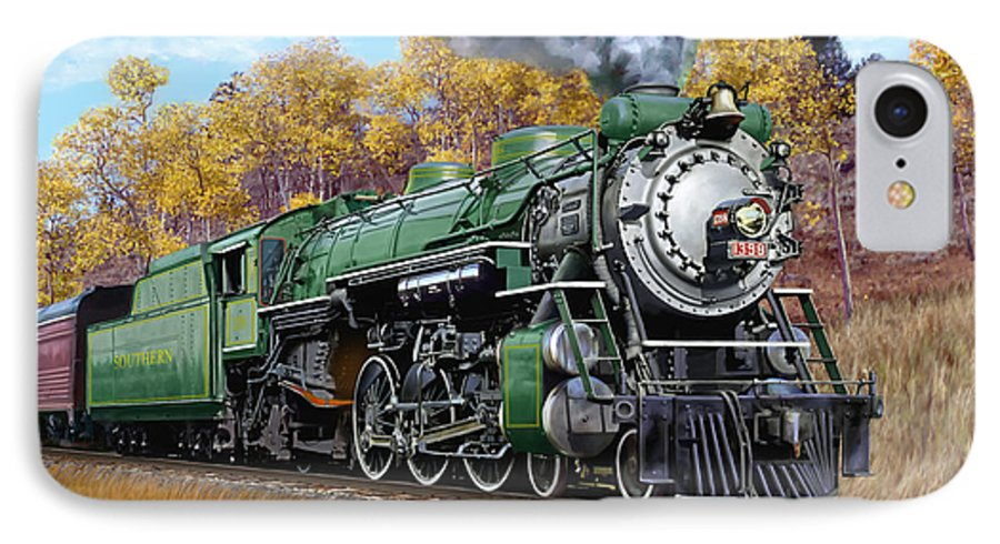 Railraod IPhone 7 Case featuring the painting Southern Railway Class Ps-4 Pacific by Mark Karvon