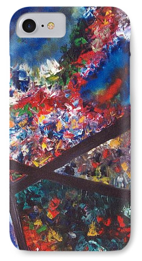 Abstract IPhone 7 Case featuring the painting Spectral Chaos by Micah Guenther