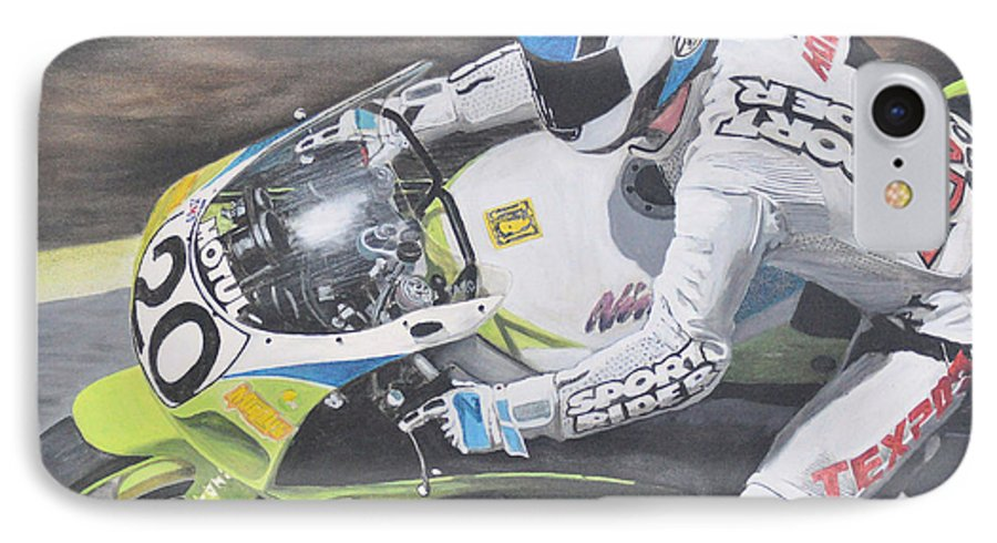 Motorcycle IPhone 7 Case featuring the painting Sport Rider by Denis Gloudeman