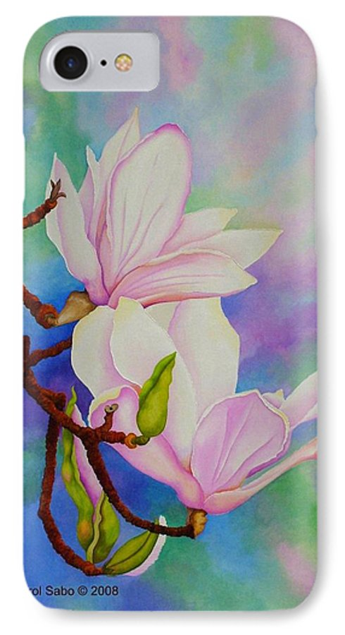 Pastels IPhone 7 Case featuring the painting Spring Magnolia by Carol Sabo
