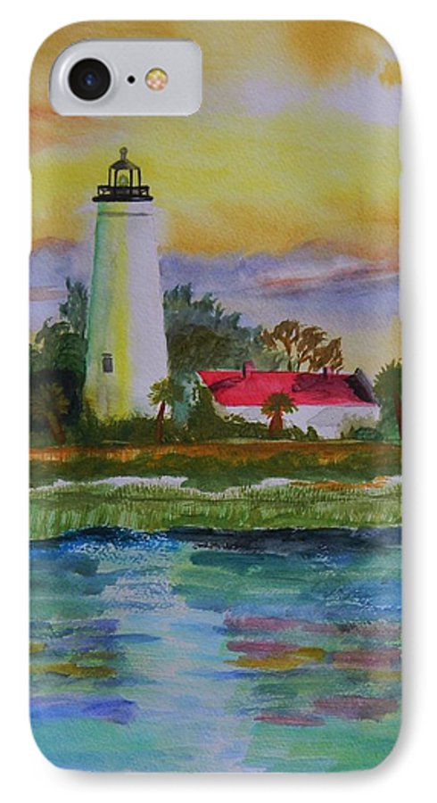 Landscape IPhone 7 Case featuring the painting St. Marks Lighthouse-2 by Warren Thompson
