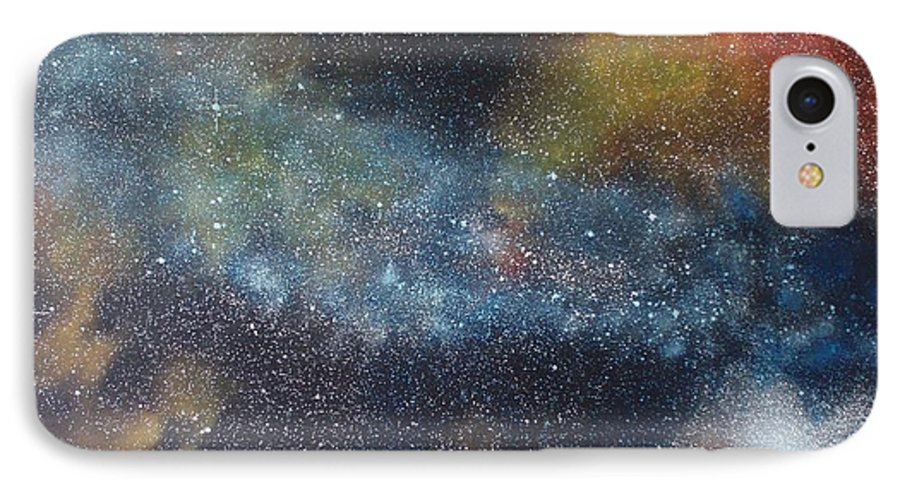 Space;stars;starry;nebula;spiral;galaxy;star Cluster;celestial;cosmos;universe;orgasm IPhone 7 Case featuring the painting Stargasm by Sean Connolly