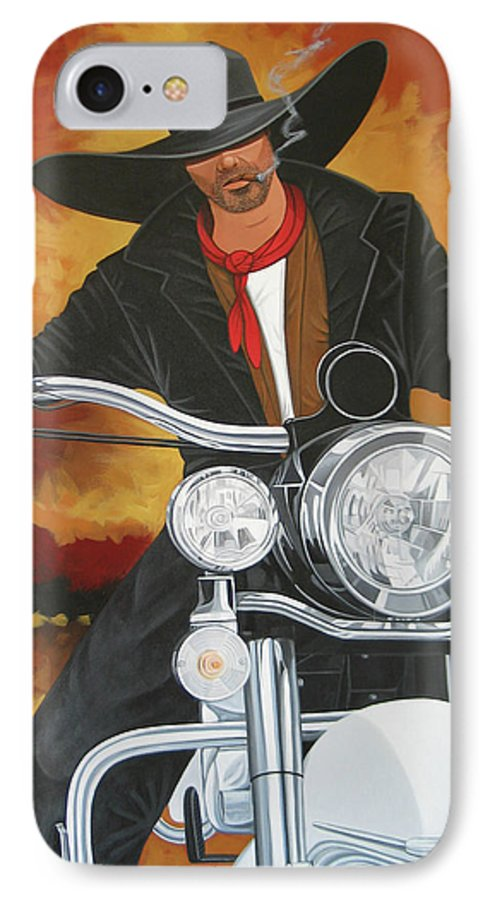 Cowboy On Motorcycle IPhone 7 Case featuring the painting Steel Pony by Lance Headlee
