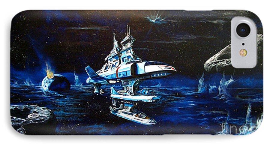 Alien IPhone 7 Case featuring the painting Stellar Cruiser by Murphy Elliott