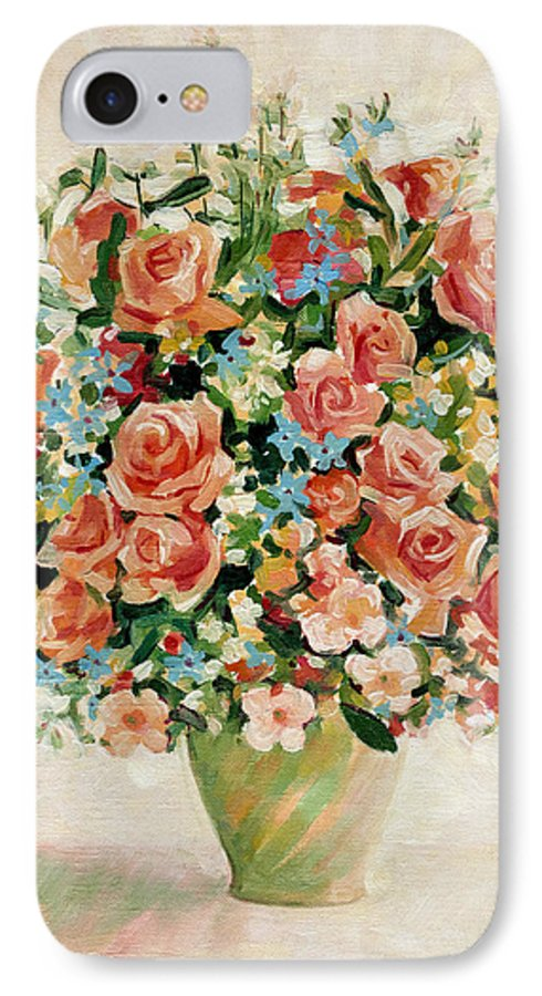 Flowers IPhone 7 Case featuring the painting Still Life With Roses by Iliyan Bozhanov